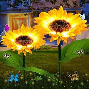 Solar Sunflower Lights Outdoor 2 Pack, ZHUPIG Solar Garden Lights Landscape Pathway Lights Decorative Stake, Auto ON/Off, Waterproof LED Solar Powered Lights for Patio Lawn Garden Yard