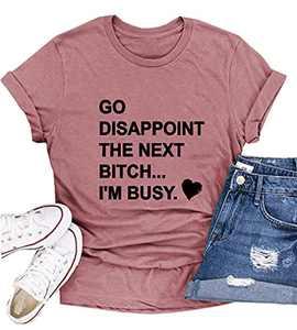 FUXUNKJ Letter Print Fashion Round Neck Loose Women's Short Sleeve T-Shirt