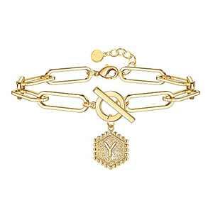 Gold Initial Bracelets for Women, 14K Gold Plated Hexagon Charm OT Clasp Personalized Bracelets Initial Bracelets for Women Paperclip Link Chain Bracelets Gold Bracelets for Women Teen Girls(Y)