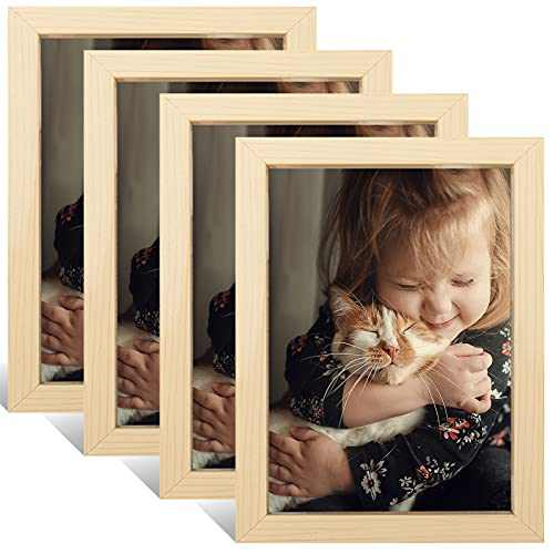Crelity 5X7 Picture Frames Set of 4, Multi Natural Photo Frames Collage for Wall or Tabletop Display, Simple Design Glossy Finish Frame Perfect for Home Decoration, Family, Office, Kitchen