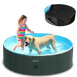 """Foldable Dog Pool - Portable Hard Plastic Kiddie Pool with Pool Cover and Hose Adapter, PVC Collapsible Pet Bathing Tub, Non-Slip Outdoor Swimming Pool for Extra Large Dogs Cats and Kids, 63"""" x 12"""""""