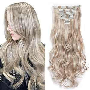 Gx Beauty Clip in Hair Extensions 22 Inche Hairpieces 7 Pieces/set Clip On Hair Extension Heat Resistant Synthetic Fiber for Women Daily Use Hair Make Clip Hair Extensions(8P60#)