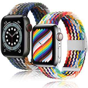 [2 Pack] ecband Nylon Elastic Stretchy Braided Solo Loop Compatible With Apple Watch Band SE/6/5/4/3/2/1 for Men and Women, Adjustable Soft Sport Strap for iWatch Series 38mm 40mm, Pride Edition+Blue Rainbow
