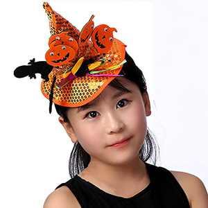 Halloween Hats Ghost and Pumpkin Orange Sequins Witch Hat Halloween Headband With Spider Themed Tattoo Sticker