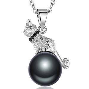 Canrtora S925 Sterling Silver Lovely Moon Cat Necklace Freshwater Cultured Pearl Women Gift (Bladk Pearl Cat)