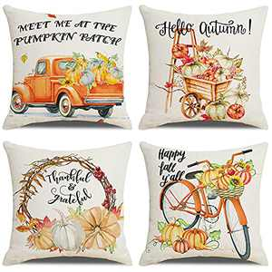 Fall Pillow Covers 18x18 Set of 4, Fall Decorations for Home Farmhouse Autumn Decor Pillowcase Linen Pumpkin Thanksgiving Truck Cushion Case for Sofa Couch Bedroom Car Decorate