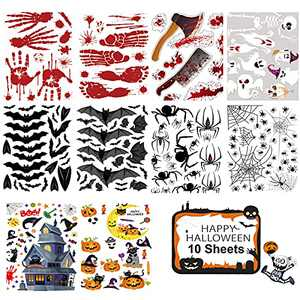 Pruk 216 Pcs Halloween Window Clings, 10 Sheets Double-Sided Removable Halloween Decal Stickers, Bloody Footprints Pumpkin Spiders Bats Ghost Glass Window Stickers for Halloween Party