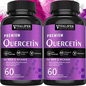 2 Pack Quercetin, Immune Supplement and Zinc Quercetin Vitamins Powerfully Supports Cardiovascular Healthy Respiratory System and Bioflavonoids for Cellular Function 60 Capsules