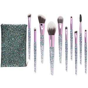 Makeup Brushes Set, 10Pcs Premium Synthetic Professional Eye shadow, Concealer, Eyebrow, Foundation, Powder Liquid Cream Blending Brushes Set With Travel Carrying Bag