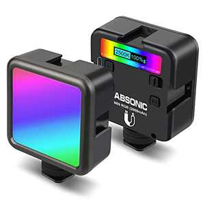 Absonic N69 RGB Camera Light, LED Video Light Mini Portable Photography Lighting, Panel Light 360° Full Color w 3 Cold Shoe, 2500-9000K Dimmable, 2000mAh Rechargeable, Magnetic Attraction