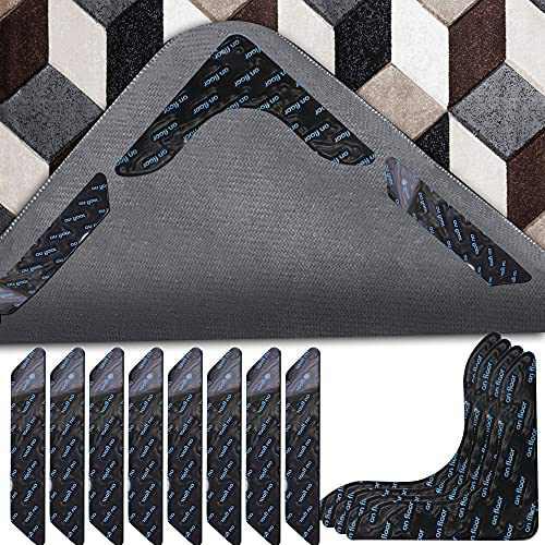 12 Pcs Rug Tape, Non Slip Rug Grippers, Updated V Shape Reusable Washable Eco-Friendly Rug Pads for Area Rugs on Hardwood, Tile Floors, Carpets, Floor Mats, Linoleum, Wall