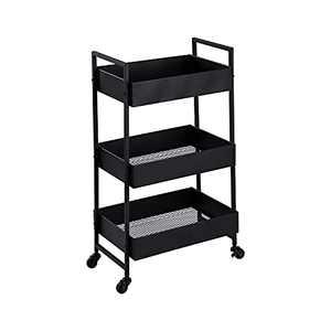 Tayene 3-Tier Rolling Metal Storage Organizer - Mobile Utility Cart, Kitchen Cart with Caster Wheels (Black)