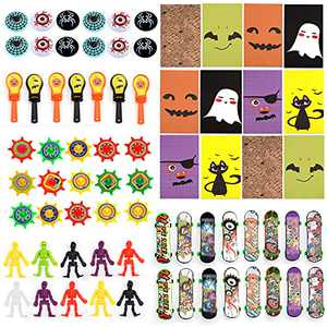 Halloween Party Favors, Halloween Novelty Toys Soft Rubber Bone Man Hand Shot Mini Skateboard for Kids 100 pieces of toy set with 18 packs