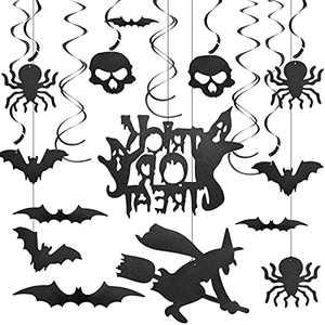Heliltd Halloween Party Decorations-47pcs Halloween Hanging Swirls and 3D Bat Wall Stickers, Halloween Hanging Bat Spider Decor Swirl Ceiling Hanging