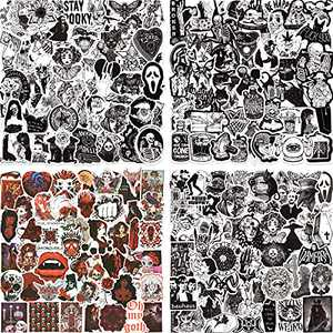 200PCS Gothic Stickers Pack for Laptop, Cool Punk Skull Stickers for Water Bottle Computer Skateboard Phone Case Luggage Guitar, Black and White Horror Stickers for Adults Teens