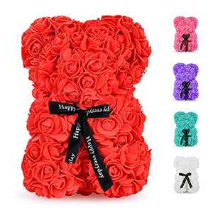 Rose Bear - 10 inch Fully Handmade Artificial Flower Bear, Romantic Gifts for Christmas, Valentine's Day, Thanksgiving Day, Mother's Day, Anniversary, Bridal Showers, Birthday with Gift Box (Red)