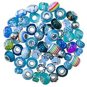 Glass Beads for Jewelry Making, European Spacer Beads, Metal Resin Big Hole Beads, Craft Rhinestone Loose Bead for Girls Kids Women DIY Bracelet Charms Necklaces Supplies with Silver Core 60pcs