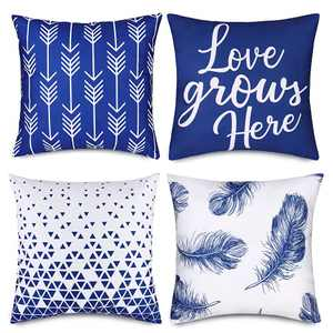 Throw Pillow Covers 18 x 18 Set of 4, Modern Geometry Square Pillowcases Decorative Cushion Covers for Sofa Couch Bedroom Car Home Decoration, Blue