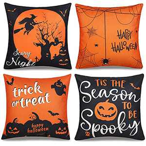 Halloween Pillow Covers 18x18 Set of 4, Halloween Decor Pumpkin Throw Pillowcase Orange and Black Happy Halloween Linen Cushion Case for Home Decoration Sofa Couch Bedroom Car Decorate