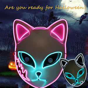 Demon Slayer Halloween Mask LED Light Up Mask Anime Cosplay Halloween Costume Masquerade Parties,Gifts