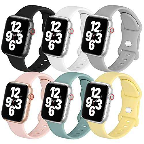 POWER PRIMACY Sport Bands Compatible with Apple Watch Band 42mm 44mm for Women Men 6 Pack Silicone Sport Replacement Strap Compatible for iWatch Bands Series 6 3 5 4 2 1 SE Sport Edition 42/44mm