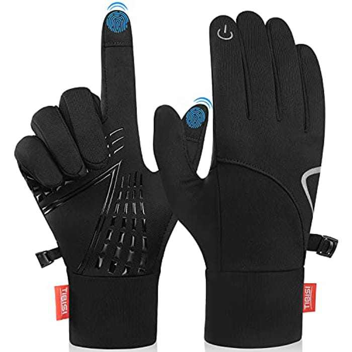 PULIOU Winter Cycling Gloves, Touch Screen Thermal Running Gloves Men Women Ladies Lightweight Windproof Anti-Slip Thin Gloves Warm Liner Gloves for Walking Bike Driving Riding Skiing