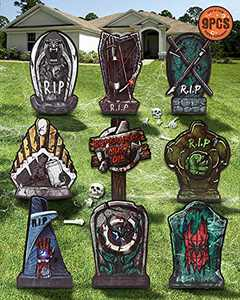 """Superhero Halloween Tombstones Outdoor Decorations, Scary Super Hero RIP Yard Signs For Halloween Decor 17"""" Yard Stakes For Lawn, Yard, Garden Decorations, Pack of 9"""