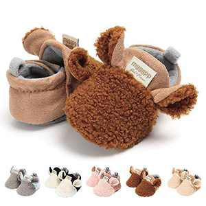 TMEOG Baby Boys Girls Soft Anti-Slip Sole Slipper Booties Infant Toddler First Walkers Shoes Warm Baby Slippers Winter Shoes (A-Brown, 12_Months)