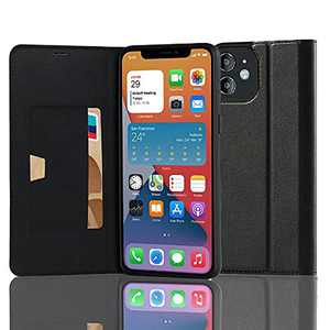 RedyRun Flip Leather Case Compatible with iPhone 12 Case 6.1 Inch [Magnetic Folio Holster][Hybrid PU Stand Cover][TPU Silicone Shockproof Phone Case][Wallet Card Holder][RFID Protective],Black