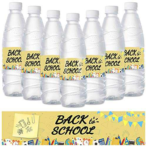 Back to School Water Bottle Labels 24PCS First Day of School Decorations Stickers 2021 Party Supplies for Elementary School,High School,College Classroom Decor (Golden)