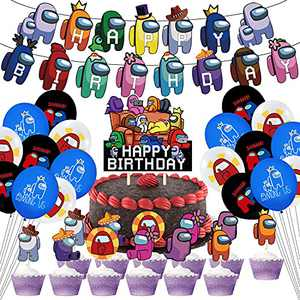 BLATOMY Among Birthday Party Decorations, Game Theme Party Supplies for Kids with Happy Birthday Banner, Cupcake Toppers, Balloons, Invitation Cards