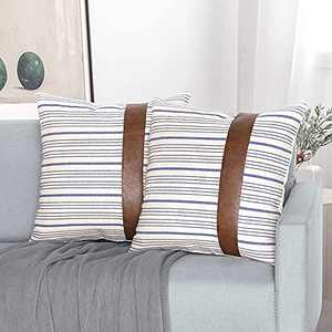Blue Stripe Leather Throw Pillow Covers,Set of 2 Modern Farmhouse Decorative Faux Leather Linen Pillow Covers 18X18 Inch for Couch Sofa Chair