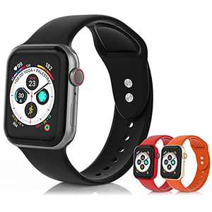 SEETEN 3Pack Compatible with Apple Watch Bands 44mm 42mm 40mm 38mm for Women/Men, Adjustable Soft&Breathable Silicone iwatch Sport bands with 2 Exclusive Metal Buckles Design for iWatch Series SE 6 5 4 3 2 1 (Black,Red,Orange, 42/44mm-L)