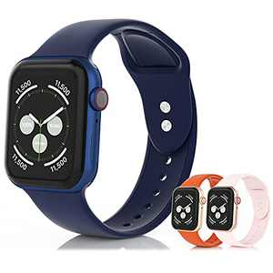 SEETEN 3Pack Compatible with Apple Watch Bands 44mm 42mm 40mm 38mm for Women/Men, Adjustable Soft&Breathable Silicone iwatch Sport bands with 2 Exclusive Metal Buckles Design for iWatch Series SE 6 5 4 3 2 1 (Midnight blue,Orange,Pink, 38/40mm-L)
