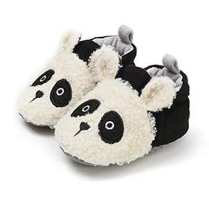 TMEOG Baby Boys Girls Soft Anti-Slip Sole Slipper Booties Infant Toddler First Walkers Shoes Warm Baby Slippers Winter Shoes (B-Panda, 6_Months)