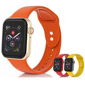 SEETEN 3 Pack Bands Compatible with Apple Watch Band 38mm 40mm 41mm 42mm 44mm 45mm Women Men, Soft and Breathable Silicone Sport Strap Replacement Wristband with 2 Metal Buckles Design for iWatch Series 7 6 5 4 3 2 1 SE (Orange,Red,Yellow, 42/44/45mm-S)
