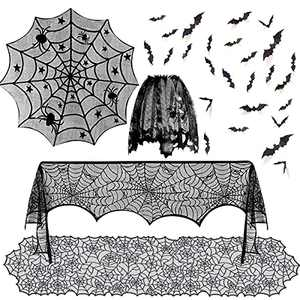 SIBOSUN 5 Pack Halloween Spider Decorations Sets -Halloween Table Runner & Fireplace Mantel Scarf & Round Table Cover & Lace Cobweb Lampshade & 60 pcs Scary 3D Bat for Halloween Party Decor