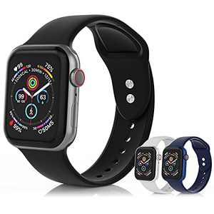 SEETEN 3Pack Compatible with Apple Watch Bands 44mm 42mm 40mm 38mm for Women/Men, Adjustable Soft&Breathable Silicone iwatch Sport bands with 2 Exclusive Metal Buckles Design for iWatch Series SE 6 5 4 3 2 1 (Black,Grey,Midnight blue, 42/44mm-S)