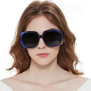 MuJaJa Oversized Square Suglasses for Women Polarized, Fashion Vintage Classic Shades for Outdoor UV Protection(Blue/Polarized)