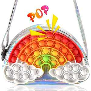 CarJoy Pop Shoulder Bag Fidget Toys, Rainbow Fidget Toys Design. Laser Toy Purse for Girls Fidget Shoulder Bag is Cute Fidget Toys Design can Relax