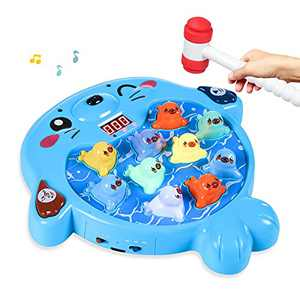 SZJJX Interactive Whack A Mole Game, Seal Hammering Pounding Toy, Toddler Games, Kids Early Developmental Learning Toys for 3 4 5 6 7 8 Year Old Boys,Girls Gifts with Hammer, Music, Light
