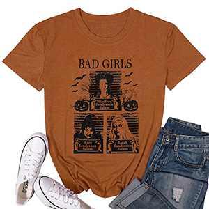 LUKYCILD Sanderson Sisters Shirt Women Halloween Bad Girls Witch Graphic T Shirt Short Sleeve Fall Top Tees Brown