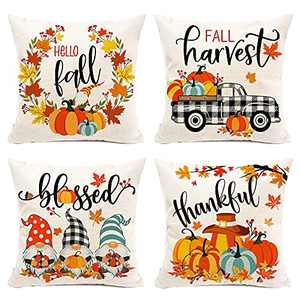 Hexagram Fall Pillow Covers 18×18 Inch Set of 4 ,Autumn Farmhouse Decorations Buffalo Plaid Cotton Linen Pillow Covers ,Pumpkin Gnome Thanksgiving Fall Decor for Sofa Couch Indoor Outdoor