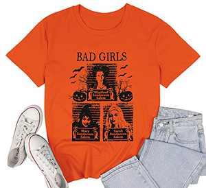 LUKYCILD Sanderson Sisters Shirt Women Halloween Bad Girls Witch Graphic T Shirt Short Sleeve Fall Top Tees Orange