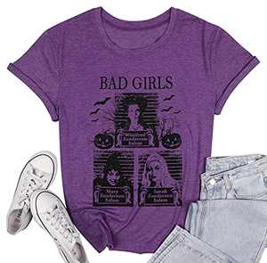 LUKYCILD Sanderson Sisters Shirt Women Halloween Bad Girls Witch Graphic T Shirt Short Sleeve Fall Top Tees Purple