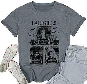 LUKYCILD Sanderson Sisters Shirt Women Halloween Bad Girls Witch Graphic T Shirt Short Sleeve Fall Top Tees Grey