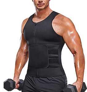 Sauna Vest for Men with Waist Trainer Zipper Neoprene Sauna Sweat Suit Tank Top Workout Waist Trimmer Vest (Black, Large)