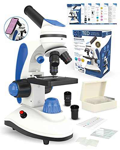 Old Ted 40x - 1000x Microscope for Adults & Students. Complete with Microscope Slides, Instruction Guide, Phone Adaptor and Dual Power Supply