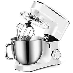 Likein Stand Mixer, 660W 6-Speed Tilt Head Kitchen Electric Food Dough Mixer, 7.4 QT Stainless Steel Bowl, with Dough Hook, Mixer Beater, Wire Whisk, Splash Guard (White)