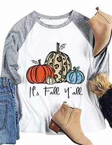 T&Twenties Women Halloween Pumpkin Raglan Shirt It's Fall Y'all Thanksgiving 3/4 Splicing Tees Leopard Pumpkin Fall Tops